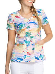 California Dream V-Neck Print Top