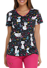 4d8a0525d5a See Details item #DK700PK · Dickies EDS Pretty Little Kitty V-neck Print  Scrub Tops