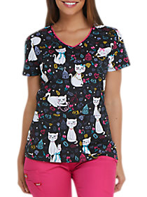 Pretty Little Kitty V-Neck Print Top