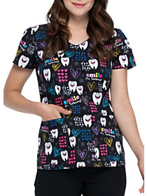 Smile, It's Toothsday V-Neck Print Top