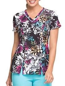 Rainbow Garden V-Neck Print Top