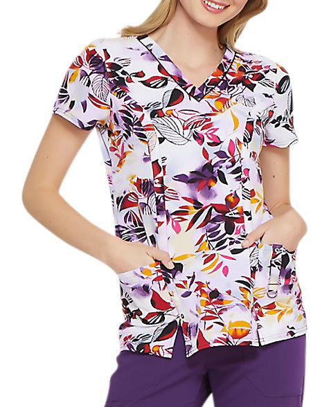 a370d967b62 Dickies Xtreme Stretch Tropical Sunset V-neck Print Scrub Tops | Scrubs &  Beyond