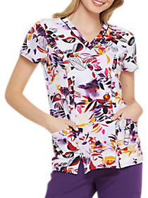 Tropical Sunset V-Neck Print Top