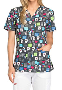 Dickies EDS Have A Laugh V-neck Print Scrub Tops