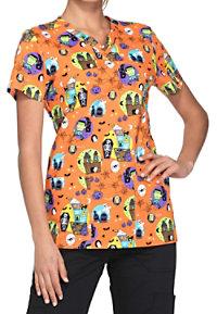 Dickies EDS Signature Halloween Night V-neck Print Scrub Tops