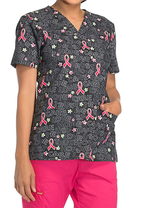Dickies Love Trust Care Breast Cancer Awareness V Neck