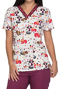 Dickies EDS Signature Thankful Forest Friends V-neck Print Scrub Tops