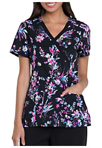 8d6a9dfa940 See Details item #DK714MM · Dickies Xtreme Stretch Meadow Muse Mock Wrap  Print Scrub Top