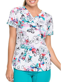 Free Flutter V-Neck Print Top