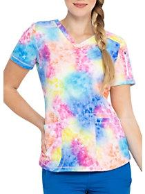 Totally Tie Dye V-Neck Print Top