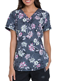 Bursting Blooms V-Neck Print Top