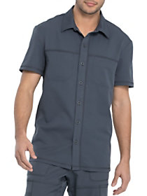 Button Front Mesh Panel Top
