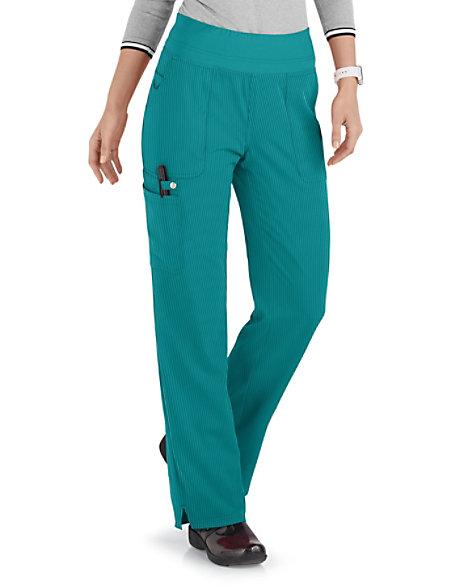 841f7f65dbe24 Elle Joie De Vivre Yoga Knit Waist Cargo Tonal Texture Scrub Pants | Scrubs  & Beyond