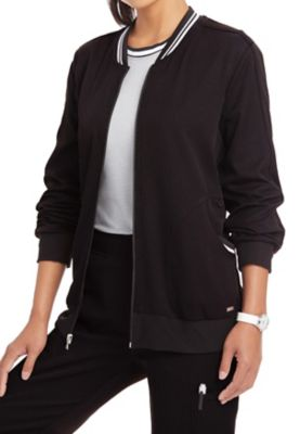 ELLE Simply Polished Contrast Trim Bomber Style Scrub Jackets