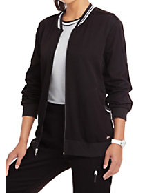 Simply Polished Contrast Trim Bomber Jacket