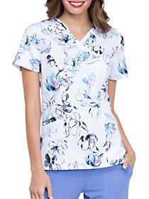 Painted Blossoms Mock Wrap Print Top