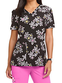 Just Fleur You V-Neck Print Top