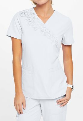 ELLE Simply Polished Embroidered Crossover Scrub Tops