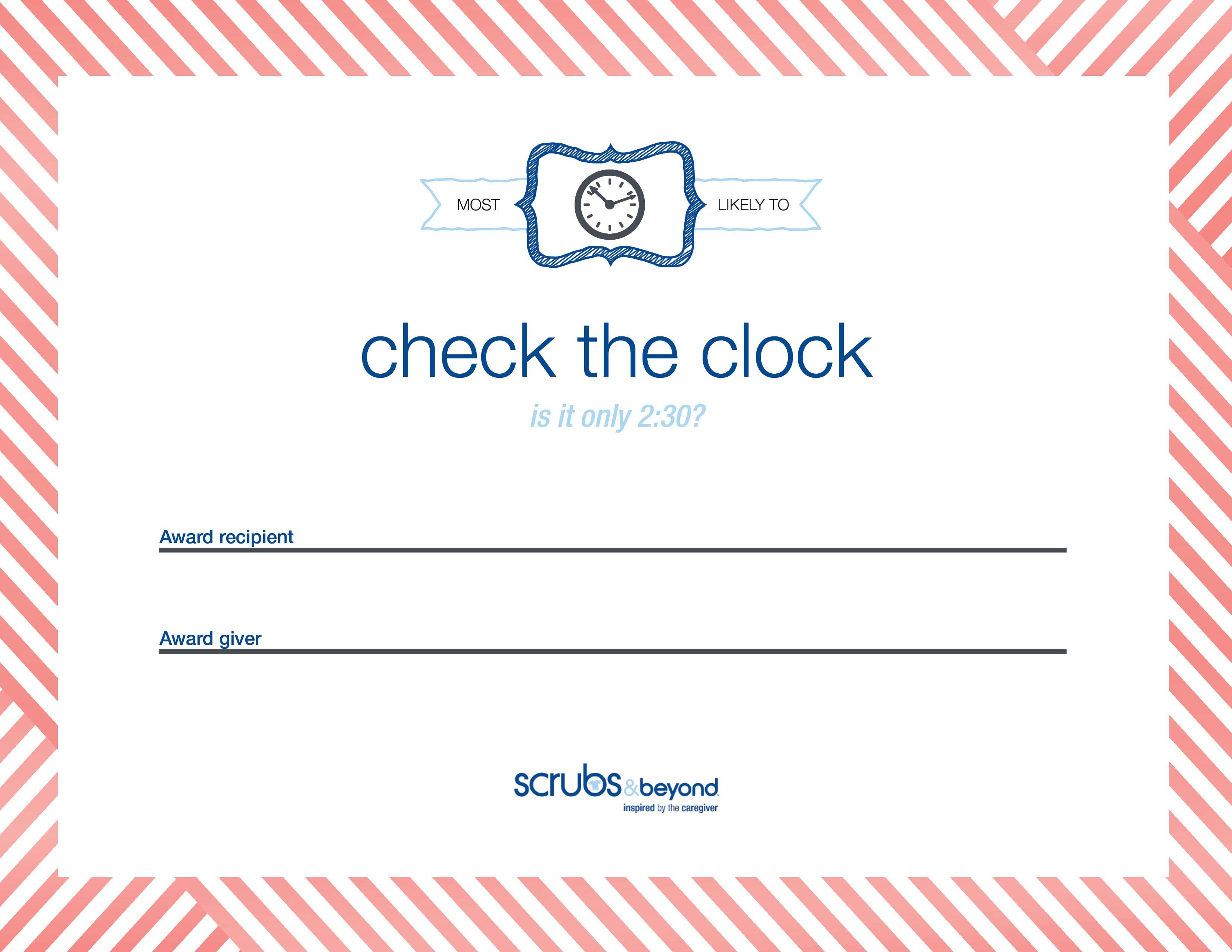 Certificate awards scrubs and beyond check the clock certificate box shadow 1betcityfo Choice Image