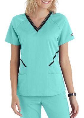 Grey's Anatomy Impact 4-Pocket V-Neck Logo Scrub Top
