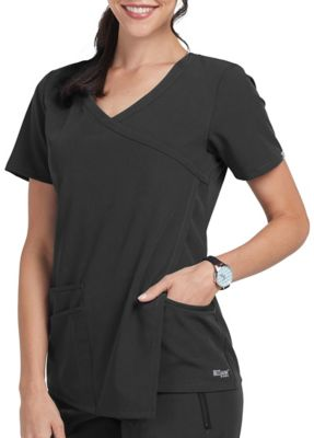 Grey's Anatomy Signature 3-Pocket Asymmetrical Drape Pleat Scrub Tops