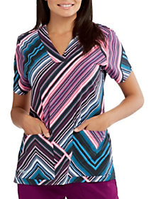 Moonlit Stripe V-Neck Print Top