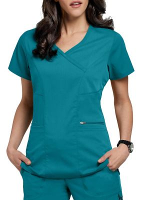 Grey's Anatomy Spandex Stretch Surplice 3 Pocket Scrub Top