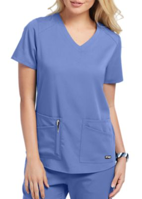 Grey's Anatomy Spandex Stretch V-Neck 4 pocket Scrubs Tops