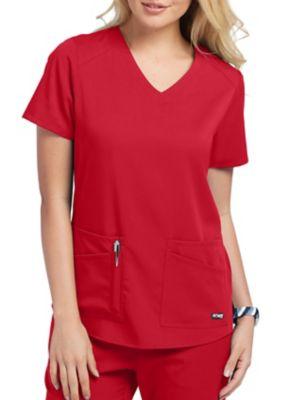 Grey's Anatomy Spandex Stretch 4 Pocket V-Neck Scrubs Top