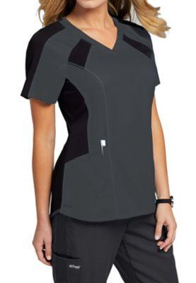 Grey's Anatomy Spandex Stretch 3-Pocket Raglan Color Block Scrub Tops
