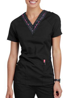 Greys Anatomy Spandex Stretch V-Neck Zip Contrast Scrub Tops