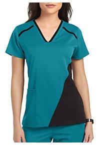 74e04b13fcb See Details item #GVST021 · Grey's Anatomy Spandex Stretch 3 Pocket  Contrast Panel Scrub Top