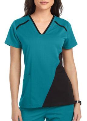 Grey's Anatomy Spandex Stretch 3 Pocket Contrast Panel Scrub Top