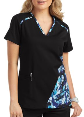 Grey's Anatomy Spandex Stretch 3 Pocket Print Contrast Panel Scrub Top