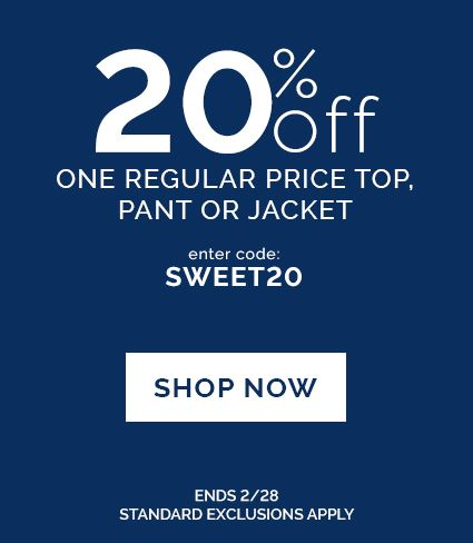 20% off top, pant or jacket