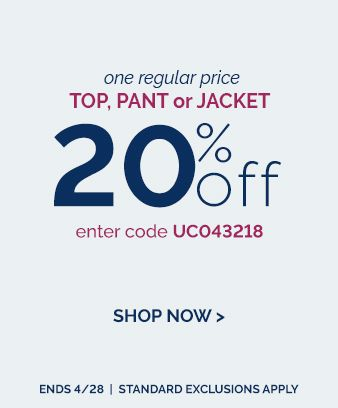 20% of top, pant & jacket