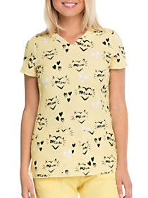 Meow or Never V-Neck Print Top