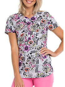 Patterns and Posies Mock Wrap Print Top