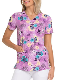 Let's Garden Party V-Neck Print Top