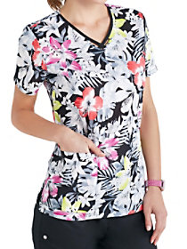Spectropical Keyhole Print Top