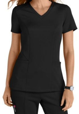 Smitten Bliss Rock Star Ponte Knit V-neck Scrub Tops