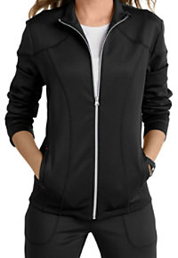 Smitten Bliss Cranked Ponte Knit Zip-front Track Scrub Jackets