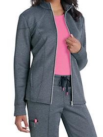 Cranked Ponte Knit Zip-front Track Jacket
