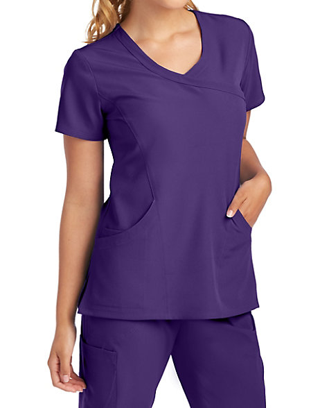 bd27a4b51c82 Skechers Balanced 3 Pocket Mock Wrap Scrub Tops