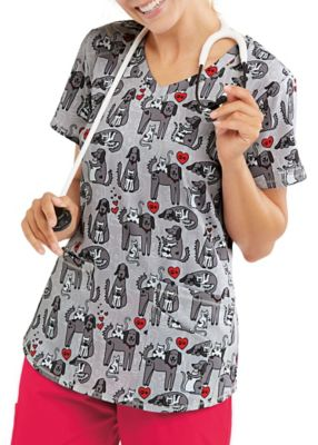 Cats & Dogs V-Neck Print Top