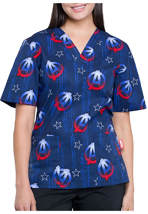 6b79f73edd4 Cherokee Tooniforms A For Avengers Unisex V-Neck Print Scrub Top | Scrubs &  Beyond