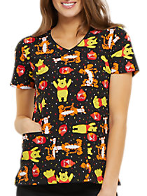 A Bear Likes Honey V-Neck Print Top