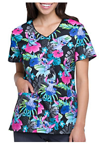 7adbe966440 See Details item #TF614SS · Cherokee Tooniforms Surfin' Stitch V-Neck Print Scrub  Top