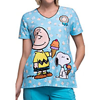 1d8cedf5bc3 Cherokee Tooniforms Chill Charlie Brown V-neck Print Scrub Tops