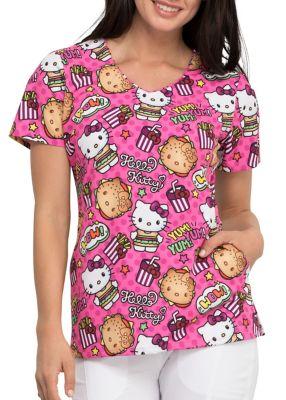 Hello Kitty Kawaii Burger V-Neck Print Top